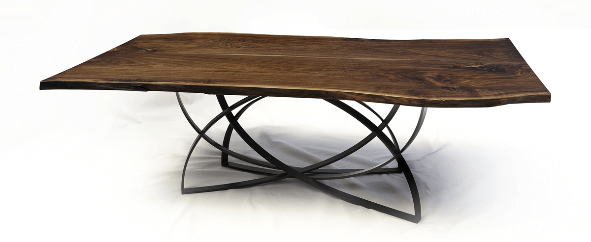Live edge black walnut wooden dining table with curved steel base